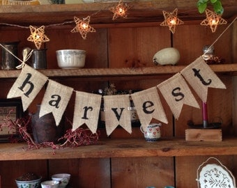 Burlap Harvest Bunting, Fall Bunting, Autumn Bunting, Autumn Banner, Thanksgiving Bunting, Fall Wedding Decor, Autumn Wedding Bunting