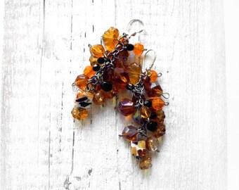 Sterling silver earrings, orange amber, long dangle earrings, autumn leaves, honey brown jewelry