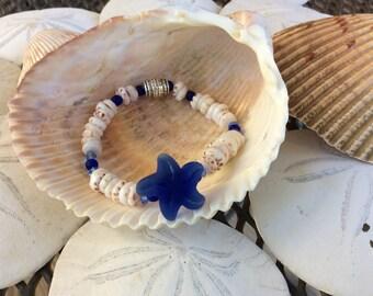 Starfish & Puka Shell Stretch Bracelet, Beach Wear