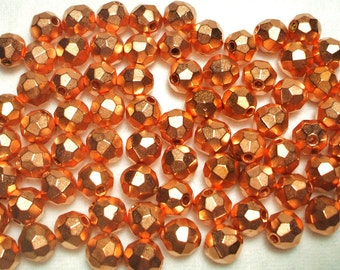 250 faceted  copper 8MM  Beads