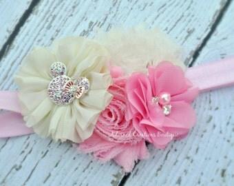 Newborn Headband, Minnie Mouse,Baby Headband, Baby Girl Headband, Toddler Headband, Infant Headband, Girls Headband Pink and Ivory Headband