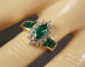 Created Emerald and Halo Diamond Ring 1.25Ctw Size 5.75 Yellow Gold 14K 5.6gm Engagement Wedding