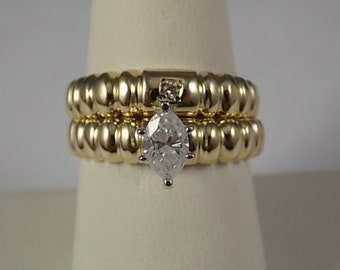 Sale - 1980s Diamond Wedding Set .69 Marquise Diamond Yellow Gold 14K 7.3gm Size 8 EGL value 3800
