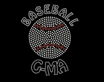 Rhinestone Baseball With Gma Rhinestone Transfer - Iron On DIY Bling - T Shirt Transfer 34163
