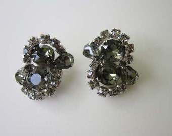Smoky Grey Rhinestone Silver tone Clip on Earrings