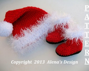 Crochet PATTERN Set - Santa Baby Hat & Booties - Baby Hat - Baby Booties - Newborn - Baby Boy - Baby Girl - Toddler - Christmas Hat