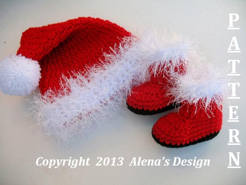 Crochet Baby Santa Booties Pattern : Crochet PATTERN Set Santa Baby Hat & Booties Baby Hat