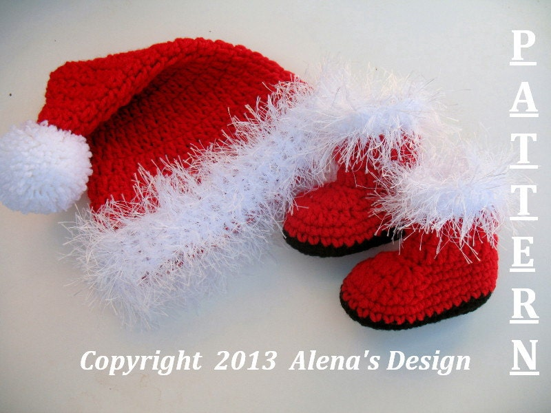 Crochet Pattern Santa Hat Baby : Crochet PATTERN Set Santa Baby Hat & Booties Baby Hat