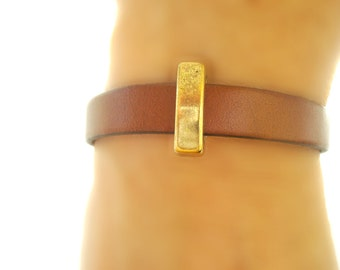 Free Shipping. Leather Bracelet: Genuine Brown Leather, Brass Slider with Magnetic Clasp.