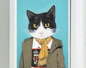 Framed Fine Art Print - Lupe - Cats In Clothes by Heather Mattoon