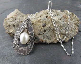 Sterling Silver - Pearl Necklace - Mermaid Tears - Pam Hurst - Pendant - Pearl - Necklace - Pendant - Sterling Pearl Necklace - Beach