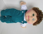 "14"" Boy Baby Cabbage Patch Teal Bib Overall"