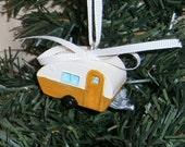 Harvest Gold Retro Travel Trailer RV Christmas Vacation Ornament