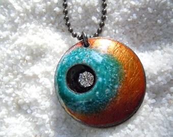 Enamel Jewelry, Copper Enamel, Enamel Necklace, Enamel Pendant, gunmetal chain