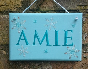 Blue Snowflakes Personalised Wooden Hanging Sign Name Plate Plaque Glitter Girls Hand Painted