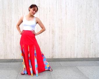 Vintage maxi skirt festival skirt patchwork red