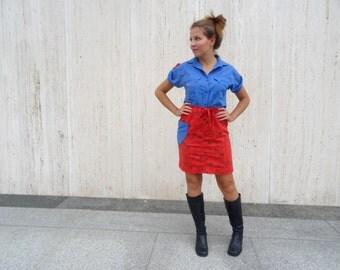 Vintage western dress blue dress