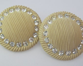 SALE Molded Plastic Earrings - Rhinestone Earrings - Cream Plastic Earrings - Retro Kitsch -  Clip-ons