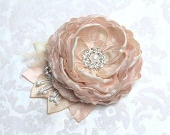 Champagne Blush Wedding Hair Flower