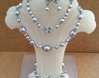 SILVER Swarovski PEARL Set ~ Necklace-Bracelet-Earrings - Light Grey Crystal Pearl - Bicone Crystal - Wedding - Bridal - Any Size - USA Made