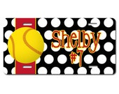 Softball License Plate - Front License Plate - Polka Dot License Plate - Personalized License Plate - License Plate - License Plate Frame