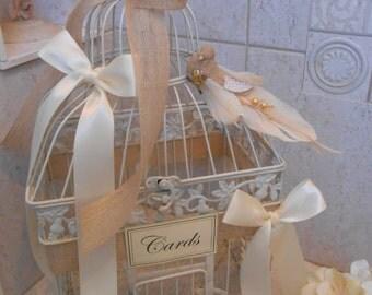 Large Burlap and Birds Wedding Birdcage Card Holder / Wedding Card Box / Rustic Wedding / Wedding Card Holder / Wedding Birdcage