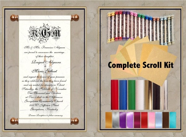 Diy Scroll Wedding Invitations: Complete 25 Pc. 8-inch DIY Scroll Invitation Kit. By InkCurves
