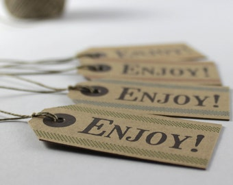 """Rustic Favor Tags """"Enjoy!"""", Set of 8 Tags, Mini Gift Tags"""