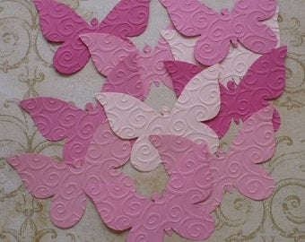 10 Embossed Butterfly / Butterflies - Sizzix  Die Cut pcs Pink colors cardstock paper 4 Photo Shoots Weddings Showers