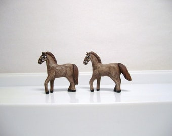 Miniature ceramic horses, miniature ceramic horse team