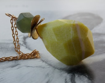 Green Jade Extra Large Briolette Pendant Necklace, Vintage Brass Chain, Rustic, Organic