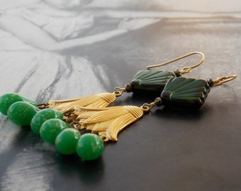 NEFERTITI - 3rd Edition - Green Chandelier Earrings, Vintage Art Deco Glass, Brass Lotus Charm, Pyrite, Egyptian Revival, Limited Edition