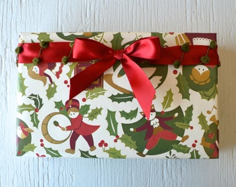 Twelve Days of Christmas Wrapping Paper, 2 Feet x 10 Feet