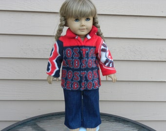 "Boston Red Sox fleece jacket and blue jeans created for 18"" dolls such as American Girl"