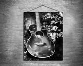 Acoustic - multiple sizes fine art photo - guitar black white gray grey - free U.S. shipping