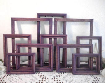 Purple Frame Set Rustic Dark Lavender Shabby Chic Distressed Picture Photo Gallery Collection Southern Cottage Home Decor Wedding Decoration