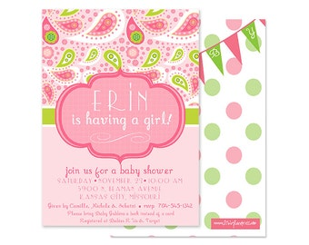 Pink and Green Paisley Baby Shower or Birthday Party Invitation-Customized and Printable
