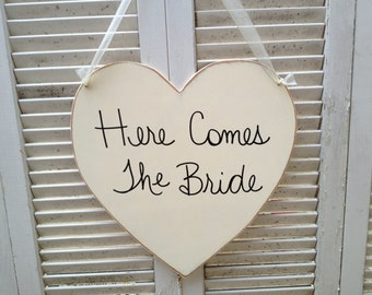 Distressed Ivory and Black Here Comes The Bride Heart Wedding Sign and Decor