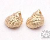 P555-05-MG// Matt Gold Plated Nutmeg Seashell Pendant, 2 pcs