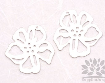 BULK SALE// P492-MR// Matt Original Rhodium Plated Flat Flower Pendant, 10 pcs