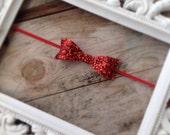Red Glitter Hair Bow Headband Newborn Photo Prop Baby Girl Headbands Holiday Valentines Day Headband Baby Headbands