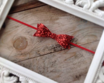 Red Glitter Hair Bow Headband Newborn Photo Prop Baby Girl Headbands Holiday Valentines Day Headband Baby Headbands