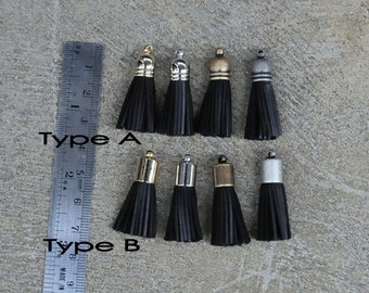4 Black Mini Cowhide Leather TASSELS in Gold, Silver, Antique Silver or Antique Brass Plated Cap(Type A or B Cap)- Pick your tassel cap