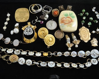Vintage destash jewelry parts and beads or repurpose or deconstruction