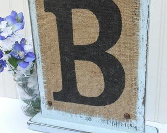 Last name letter burlap monogram wedding signage, blue, white, ivory or other color, rustic WEDDING SIGN