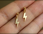 Little Lightning Bolt Earrings, Available in Silver and Gold