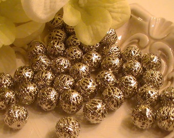 20pcs Silver Tone Filigree Ball Spacer Beads 10mm Dia Commercial Jewelry Supplies Findings 97th Street Supply