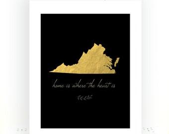 State Love Print Virginia State Art State Artwork Virginia State Virginia Map Art Virginia Print State Love Gold Decor Minimalist Decor