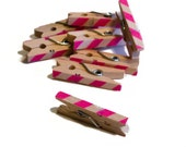 Clothespin Photo Hanger. Neon Pink and White. Oblique Stripe.