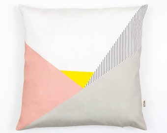 Memphis Milano Cushion Cover, organic cotton pillow case, decorative cushion, pastel pink, stripes, Geometric Cushion, home decor, Depeapa